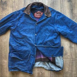 Vintage Woolrich Denim Tribal Wool-Lined Barn Coat